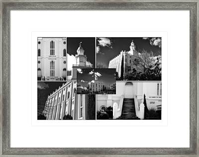 St George Temple Montage Framed Print by La Rae  Roberts