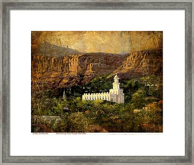 St. George Temple Red Hills Antique Framed Print by Marcia Johnson