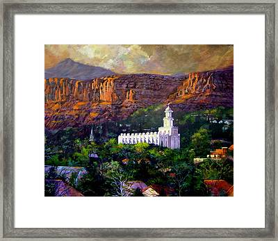 St. George Temple Red Hills Framed Print by Marcia Johnson