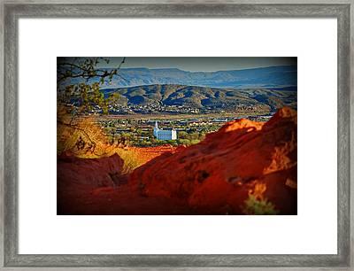 St. George Temple View Framed Print by Dana Mallard