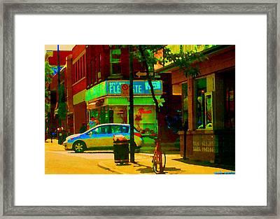 St Henri  Montreal Street Scene Corner Flower Shop Boutique Fleuriste Art Carole Spandau Framed Print by Carole Spandau