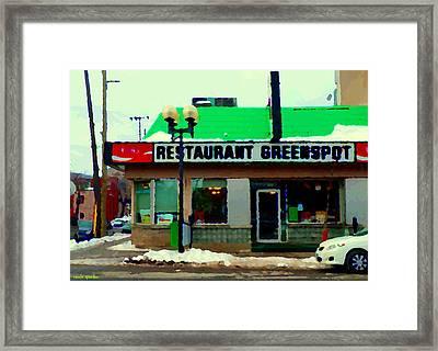 St Henri Restaurant Greenspot Hotdog Poutine Deli  Notre Dame Montreal Urban  Scenes Carole Spandau Framed Print by Carole Spandau