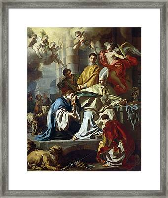 Saint Januarius Visited In Prison By Proculus And Sosius Framed Print by Francesco Solimena