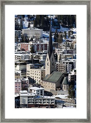 St Johann Davos Church St John Town Framed Print by Andy Smy