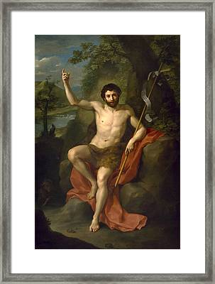 St John The Baptist Preaching In The Wilderness Framed Print by Anton Raphael Mengs