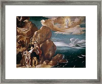 St John The Evangelist On Patmos Framed Print by Pedro Orrente