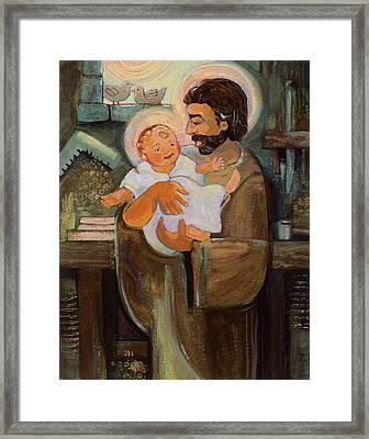 St. Joseph And Baby Jesus Framed Print by Jen Norton