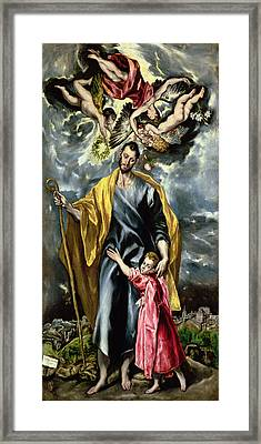 Saint Joseph And The Christ Child Framed Print by El Greco