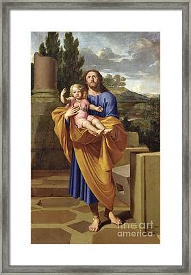 St. Joseph Carrying The Infant Jesus Framed Print by Pierre  Letellier