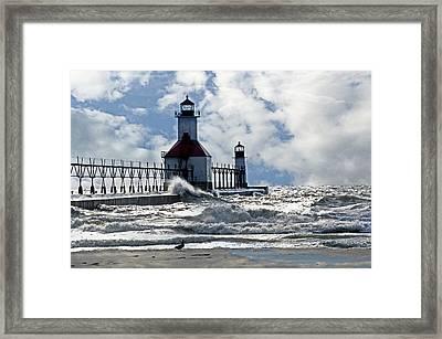 St Joseph Lighthouse Framed Print by Cheryl Cencich