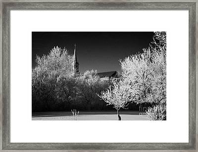 st josephs old church and rectory in Forget Saskatchewan Canada Framed Print by Joe Fox