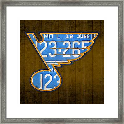 St Louis Blues Hockey Team Retro Logo Vintage Recycled Missouri License Plate Art Framed Print by Design Turnpike