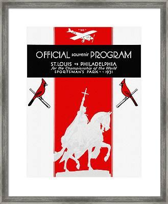 St. Louis Cardinals 1931 World Series Program Framed Print by Big 88 Artworks