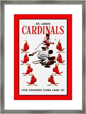 St. Louis Cardinals 1950 Score Card Framed Print by Big 88 Artworks