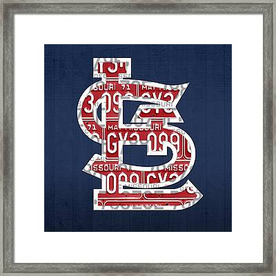 St. Louis Cardinals Baseball Vintage Logo License Plate Art Framed Print by Design Turnpike