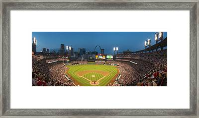 St. Louis Cardinals Busch Stadium Pano 5 Framed Print by David Haskett