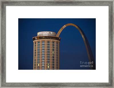St. Louis Gateway Arch And Millennium Hotel Framed Print by David Haskett