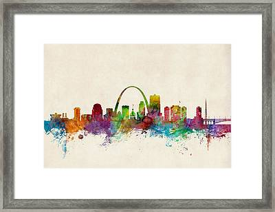 St Louis Missouri Skyline Framed Print by Michael Tompsett