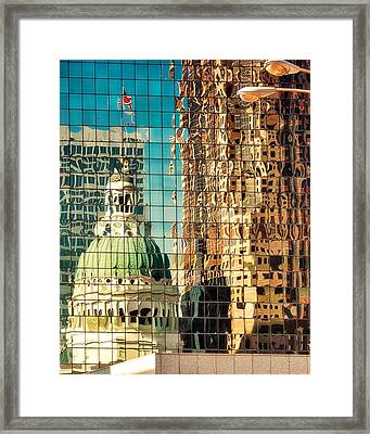 St. Louis Old Courthouse Reflected Framed Print by Jon Woodhams