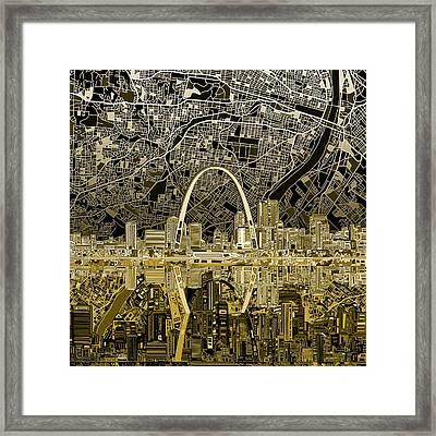 St Louis Skyline Abstract Framed Print by Bekim Art