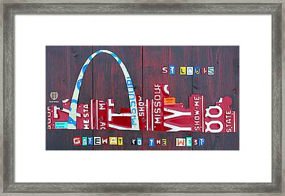 St. Louis Skyline License Plate Art Framed Print by Design Turnpike