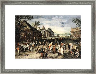 Saint Martin Dividing His Cloak London Framed Print by Jan Brueghel the Elder