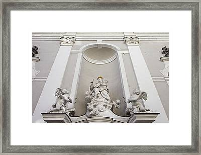 St Michael Church Sculptures In Budapest Framed Print by Artur Bogacki