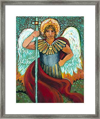 St. Michael The Archangel Framed Print by Jen Norton