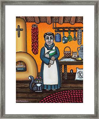 St. Pascual Making Bread Framed Print by Victoria De Almeida