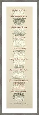 St Patrick's Breastplate Framed Print by Judy Dodds