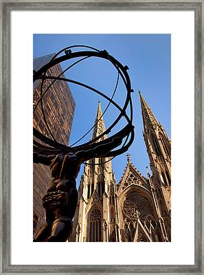 St Patrick's Cathedral With Bronze Framed Print by Brian Jannsen