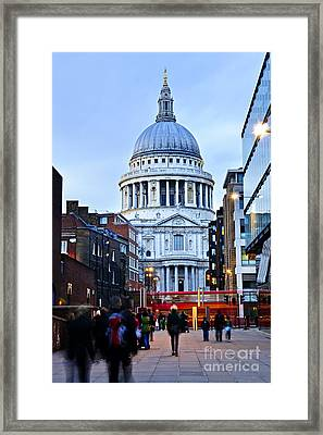 St. Paul's Cathedral At Dusk Framed Print by Elena Elisseeva