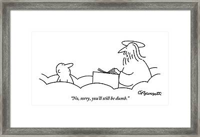 St. Peter Talks To A Man At The Pearly Gates Framed Print by Charles Barsotti