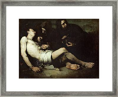 St Sebastian, Martyred Oil On Canvas Framed Print by Auguste Theodule Ribot