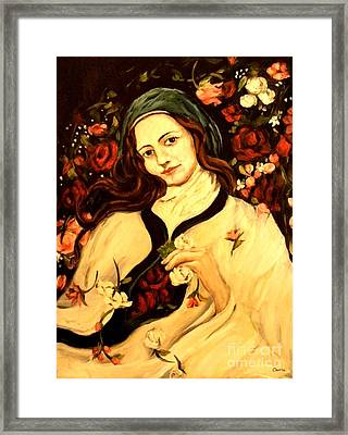 St. Therese Framed Print by Carrie Joy Byrnes