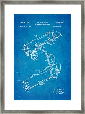 Stableford Golf Trolley Patent Art 1952 Blueprint Framed Print by Ian Monk