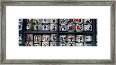 Stack Of Jars On Racks, Tsurugaoka Framed Print by Panoramic Images