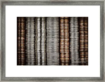 Stacked Coins Framed Print by Elena Elisseeva