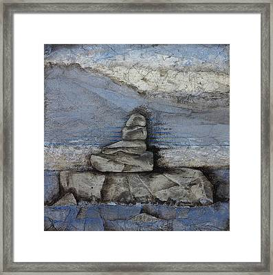 Stacking Rock Bluei Framed Print by Laura  Lein-Svencner