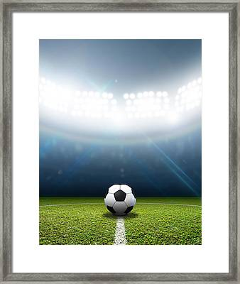 Stadium And Soccer Ball Framed Print by Allan Swart