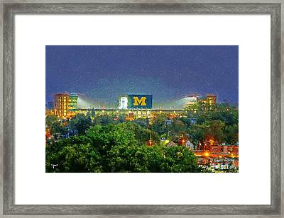 Stadium At Night Framed Print by John Farr