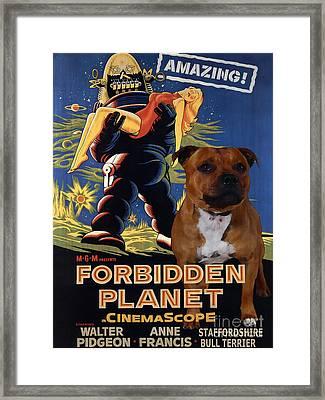 Staffordshire Bull Terrier Art Canvas Print - Forbidden Planet Movie Poster Framed Print by Sandra Sij