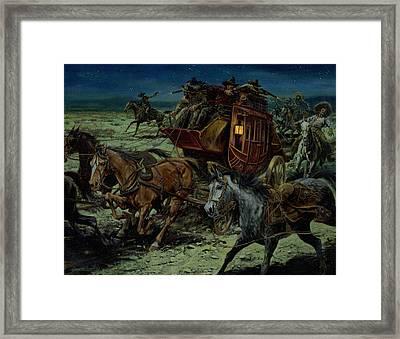 Stagecoach Attack Framed Print by Don  Langeneckert