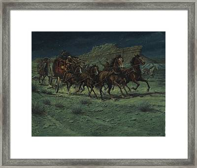 Stagecoach Six Horse Hold Up Framed Print by Don  Langeneckert