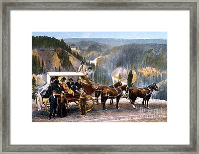 Stagecoach Near Upper Falls Framed Print by NPS Photo Frank J Haynes