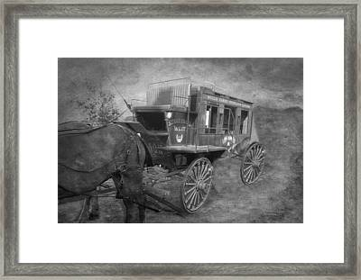 Stagecoach West Bw Textured Framed Print by Thomas Woolworth