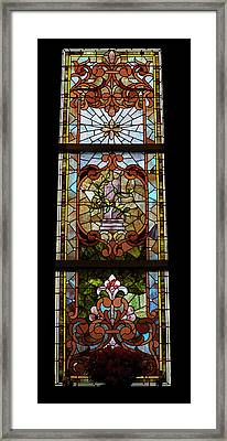 Stained Glass 3 Panel Vertical Composite 06 Framed Print by Thomas Woolworth