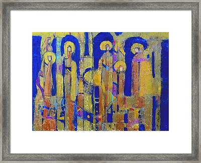 Stained Glass Archangels Framed Print by Elise Ritter