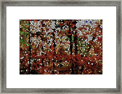 Stained Glass Autumn Colors In The Forest  Framed Print by Lanjee Chee