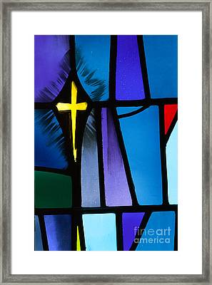 Stained Glass Cross Framed Print by Karen Lee Ensley